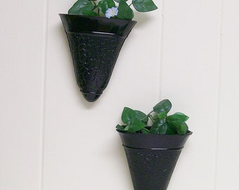 Wall Pockets / Hanging Vases / Planters /Pair / Black Glass Crackle