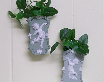 Wall Pockets / Vases / Vintage Cherubs
