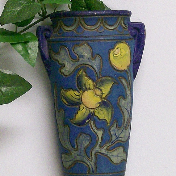 Teal and Yellow Flower Wall Pocket