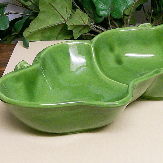 Double Apple Green Ceramic Serving Bowl