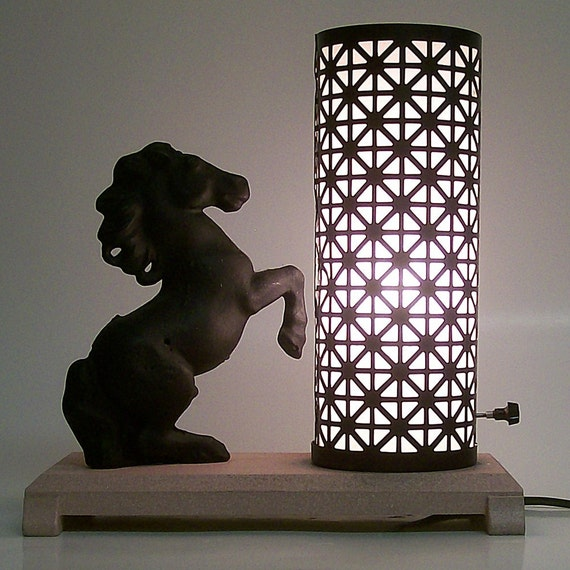 Vintage TV/Accent Lamp Pink and Black with Horse