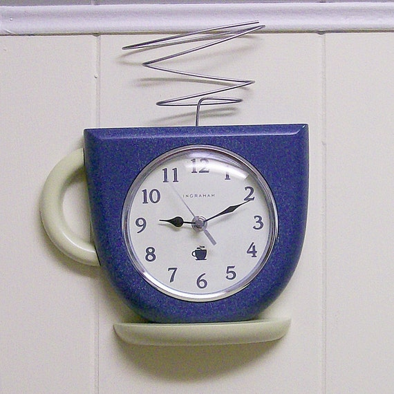 Vintage Coffee Cup Wall Clock Battery Powered