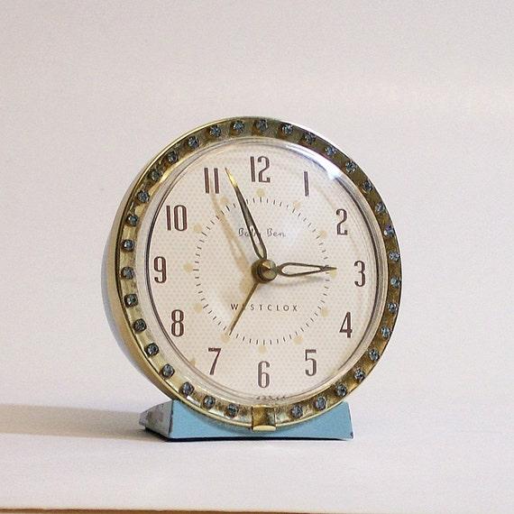Vintage Alarm Clock Baby Ben Blue with Rhinestones
