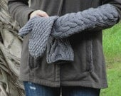 Women's Long Wool Horseshoe Cabled Mittens in Stone - Made To Order