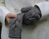 Woman's Wool Celtic Braided/Cabled Mittens in Gray/Stone - Made to Order - Warm and Rustic