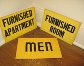 Vintage Signs, 1950's, Yellow Paperboard, Your Choice of  3