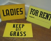 Vintage Signs, 1950's, Yellow Paperboard, Your Choice of 1