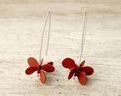 Sterling silver and copper red dangling earrings