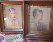 "Sydney Bell PORTRAITS ""charlotte and peter"" framed 1920s art by C & A Richards Boston, Ma"