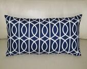 """Dwell Studio Pillow -  Bella Porte Midnight Blue 14""""x24""""  Lumbar Pillow Cover"""
