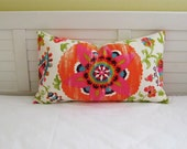 "Silsila Suzani in Orange and Pink Indoor Outdoor 14""x24""  Lumbar Pillow Cover"