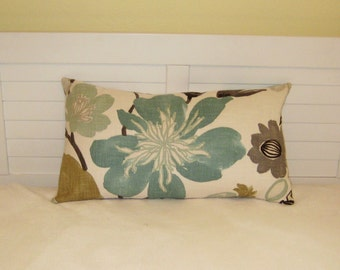 Braemore Gorgeous in Pearl with Aqua Blue Flower Lumbar Pillow Cover