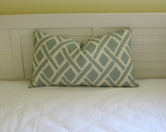 Kravet Treads in Lagoona (Aqua) Lattice Design Lumbar Pillow Cover