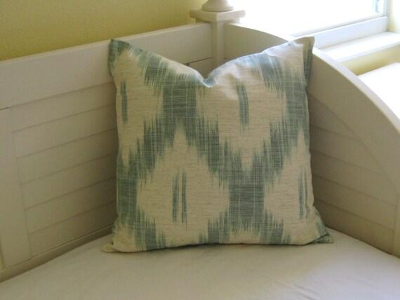 """Laura Ashley for Kravet Teal Ikat Diamond Design 18""""x18"""" Pillow Cover"""