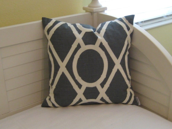 """Custom Order for Amy - Pair of Matching Lattice Bamboo in Graystone 18""""x18"""" Pillow Covers"""