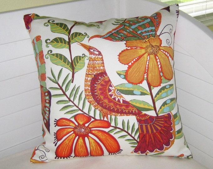 Botanica Orange Bird (On Both Sides) Designer Pillow Cover