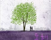 Together -- Dong-heng in Korean -- 10x10 -- Gallery Wrapped Canvas Tree Art Print