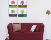 Han-guhl Life Tree Series -- Set of Four -- Gallery Wrapped Canvas -- 10x10