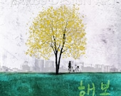 Happiness -- Heng-bok in Korean 10x10 Gallery Wrapped Canvas Tree Art Print tree art print giclee print,art collectibles,wall art,wall decor
