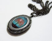 Maple Fall -- Small Wearable Art Locket.tree necklace.tree locket.Valentine's Gift