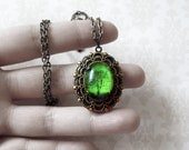 Emerald Bewitched -tree necklace.tree locket.Wearable Art Locket necklace -Valentine's gift-Mother's Day gift-cameo necklace bridesmaid gift