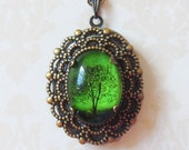 Emerald Bewitched -- Antique Locket.locket necklace.Small  Wearable Art Locket necklace -Valentine's gift-Mother's Day gift-cameo necklace