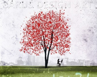 Waiting -- Gi Da Rim in Korean -- 8x10 tree art print giclee print, art, tree art,print,gift,art collectibles,wall art,wall decor,wall decor