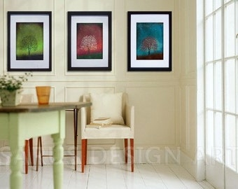 Gem Tree Series -- Set of Three -- 11x14 --- christmas gifts Tree Art Print