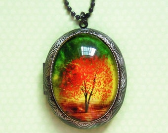 Twilight -- Wearable Art Locket-Christmas gift.photo locket.tree necklace.tree locket.Mother's Day gift