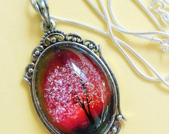 Ruby Sunset -- Wearable Art Cameo Necklace.Christmas gift red.Mother's Day gift,Valentine's Gift
