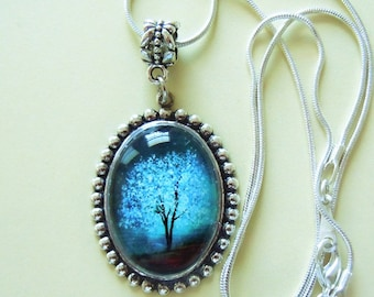 Sapphire Wind -- Wearable Art Cameo Necklace-Christmas gift