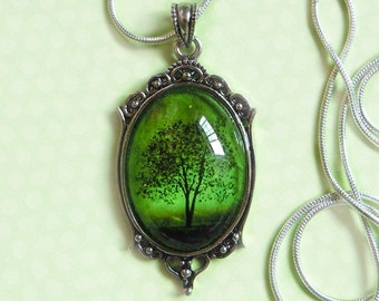 Emerald Bewitched -- Wearable Art Cameo Silver Necklace-tree necklace.--christmas gifts-cameo necklace.Mother's Day gift