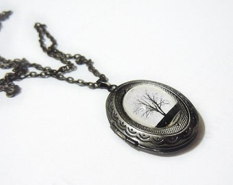 Serenity -- Small Wearable Art Locket--silver locket.Christmas gift.photo locket.Mother's Day gift Valentine's gift