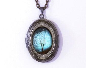 Blue Locket Sapphire Wind Wearable Art Locket.tree necklace.tree locket-silver locket-Mother's Day gift.Valentine's gift.bridesmaid gift