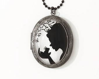 Magical Kiss --Silhouette  Wearable Art Locket-silver locket-Christmas gift Valentine's gift