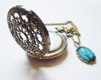 Sapphire Wind -- Charm -- Wearable Art Pocketwatch-Valentine's  Gift Pocketwatch necklace