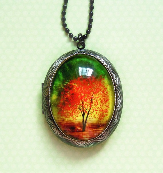 Twilight -- Wearable Art Locket-Christmas gift.photo locket.tree necklace.tree locket.Mother's Day gift