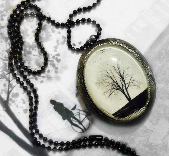 Winter Tree Locket.White Tree.Silver Locket.Art Locket.Serenity -- Wearable Art Silver Locket-Christmas gift