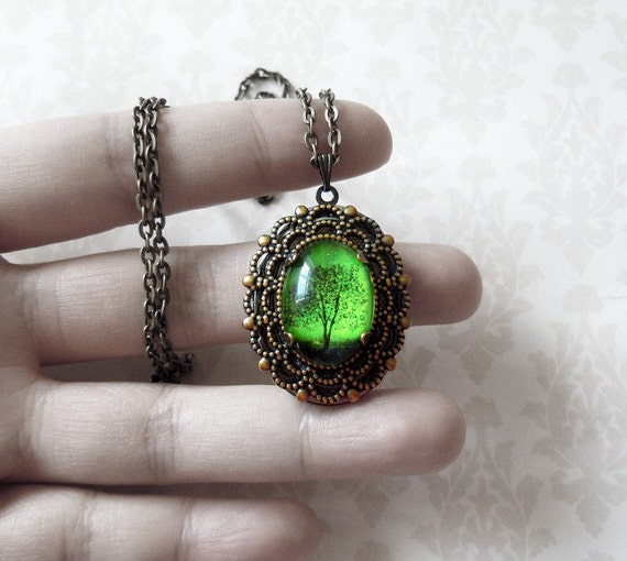 Emerald Bewitched Antique Locket.tree necklace.tree locket. Wearable Art Locket necklace -Valentine's gift-Mother's Day gift-cameo necklace