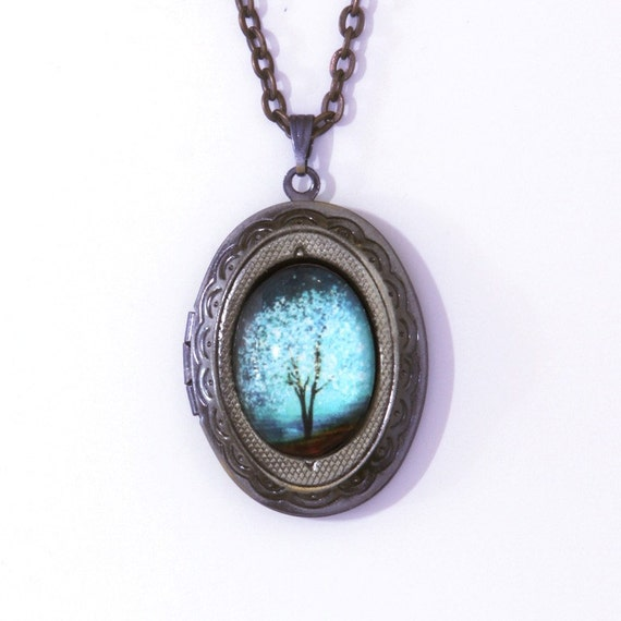 Blue Locker Sapphire Wind Wearable Art Locket.tree necklace.tree locket-silver locket-Mother's Day gift.Valentine's gift.bridesmaid gift