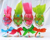 Personalized Wine Glasses Bachelorette Party Graduation Party Wedding Party Mothers Day