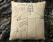 Halloween Primitive Black Cat Pillow, Pumpkins, Halloween Decor, Black Cat Decoration, Hand Embroidered Stitchery, Prim Black Cat