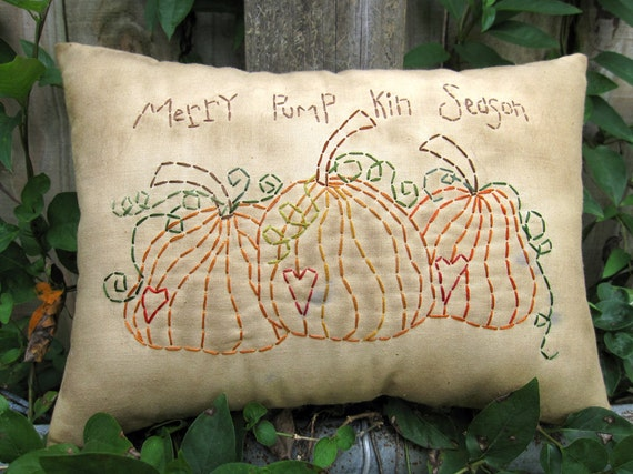 Primitive Fall Pumpkin Pillow - Grungy Embroidery