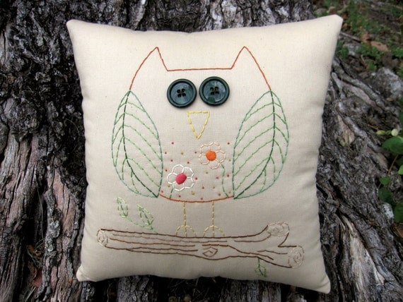 Whimsical Woodland Owl - Original Design - Hand Embroidered Pillow