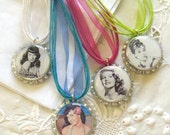 Retro Bottlecap Necklaces with hollywood classic pinups Marilyn Monroe, Audrey Hepburn, Betty Page, Rita Hayworth.