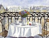 Balcony Paris Original (6x9) Pen, Ink & Watercolor Drawing by Vista Artworks