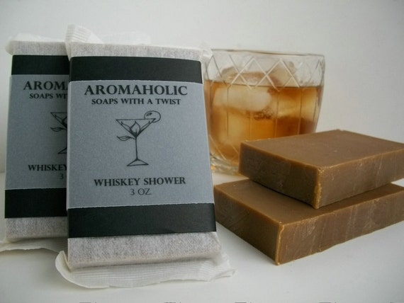 Whiskey Shower soap - scotch bourbon inspired bar - scented with myrrh and oakmoss