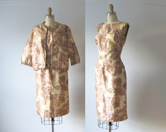 vintage 1950s dress / silk dress suit