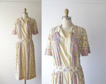 vintage 1940s dress / 40s dress / Victory Garden