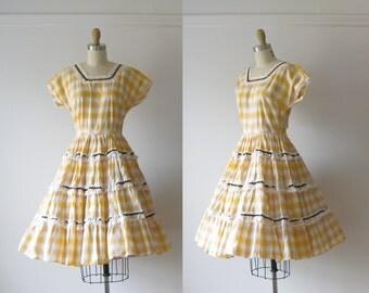 SALE vintage circle skirt dress / yellow dress